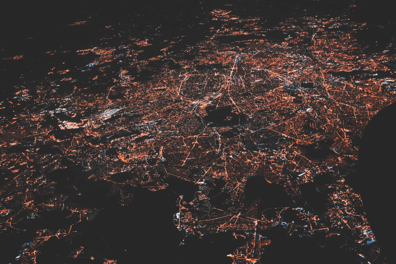 City aerial view at night