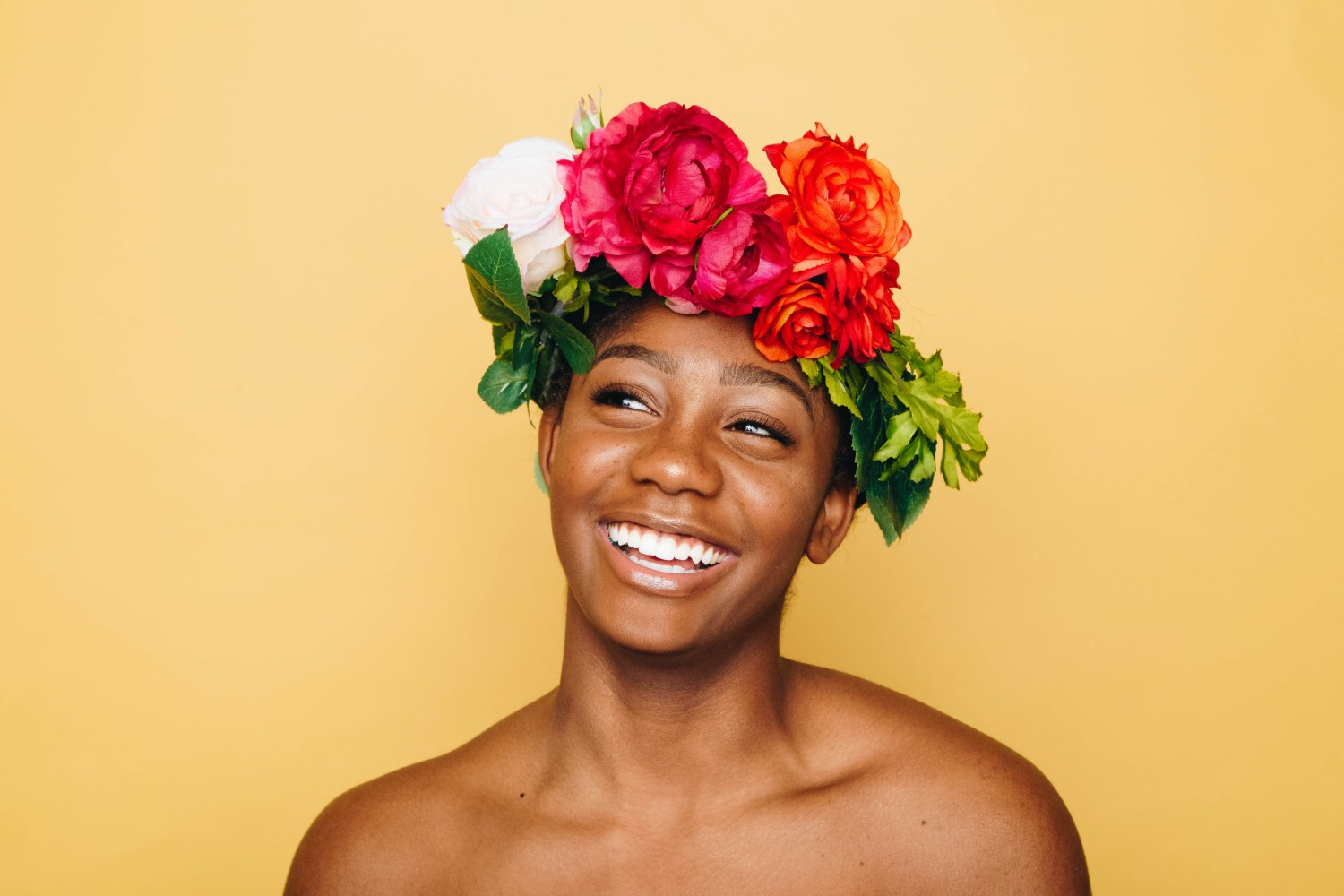 Woman wearing flower crown
