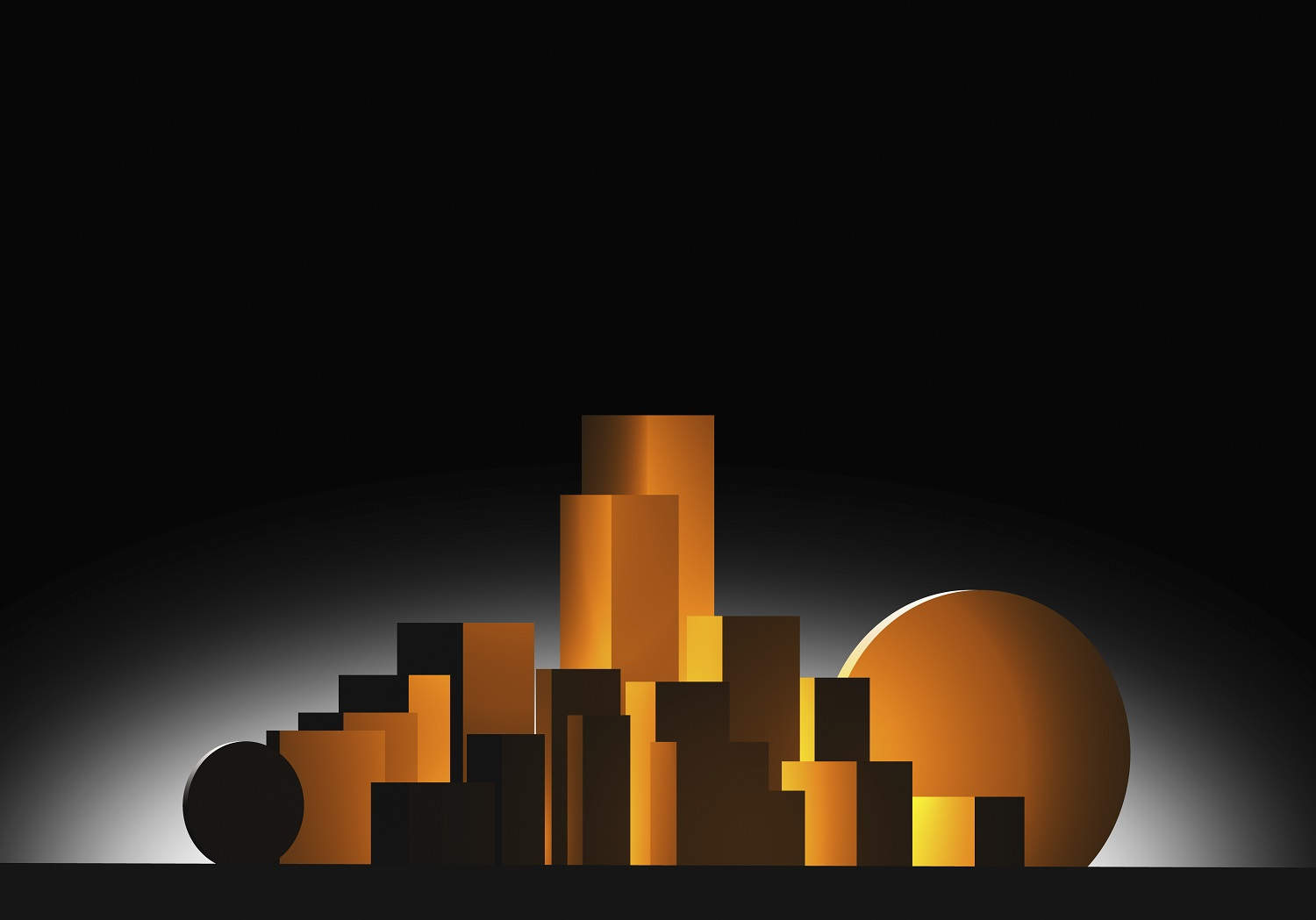 gold geometric shapes resembling a city skyline