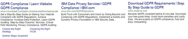 GDPR paid search creative examples
