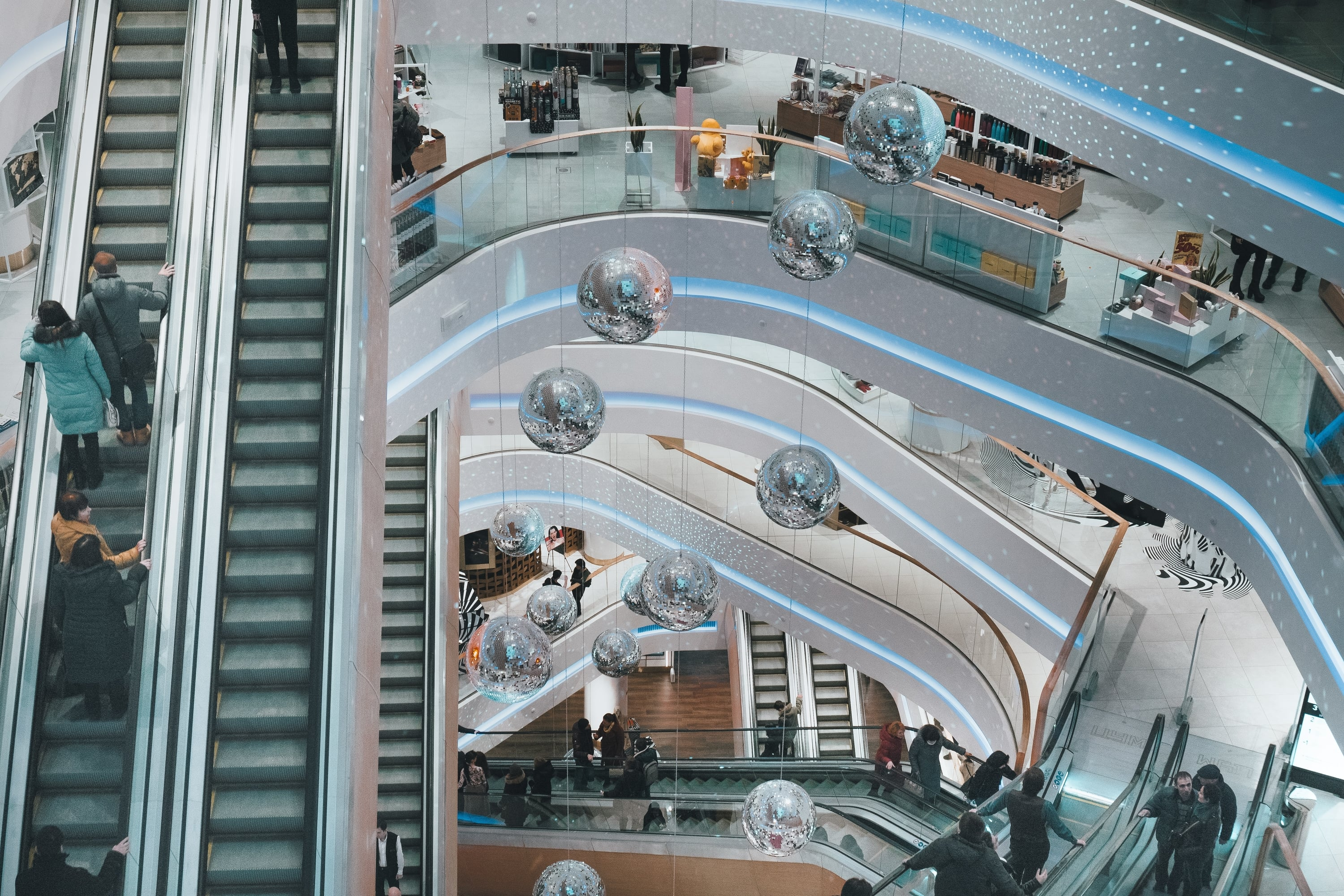 Escalator in shopping mall