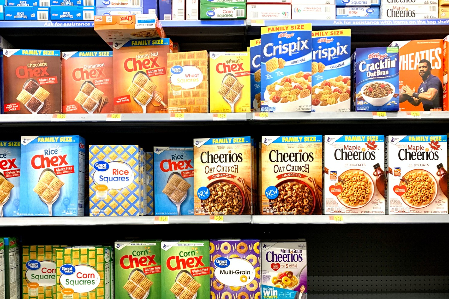 cereal on shelves