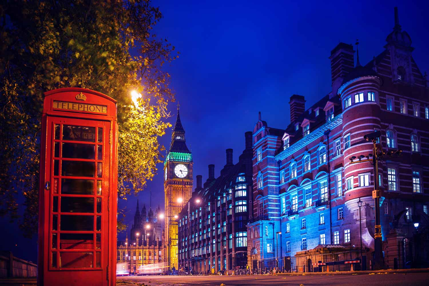Phone box and Big Ben at night