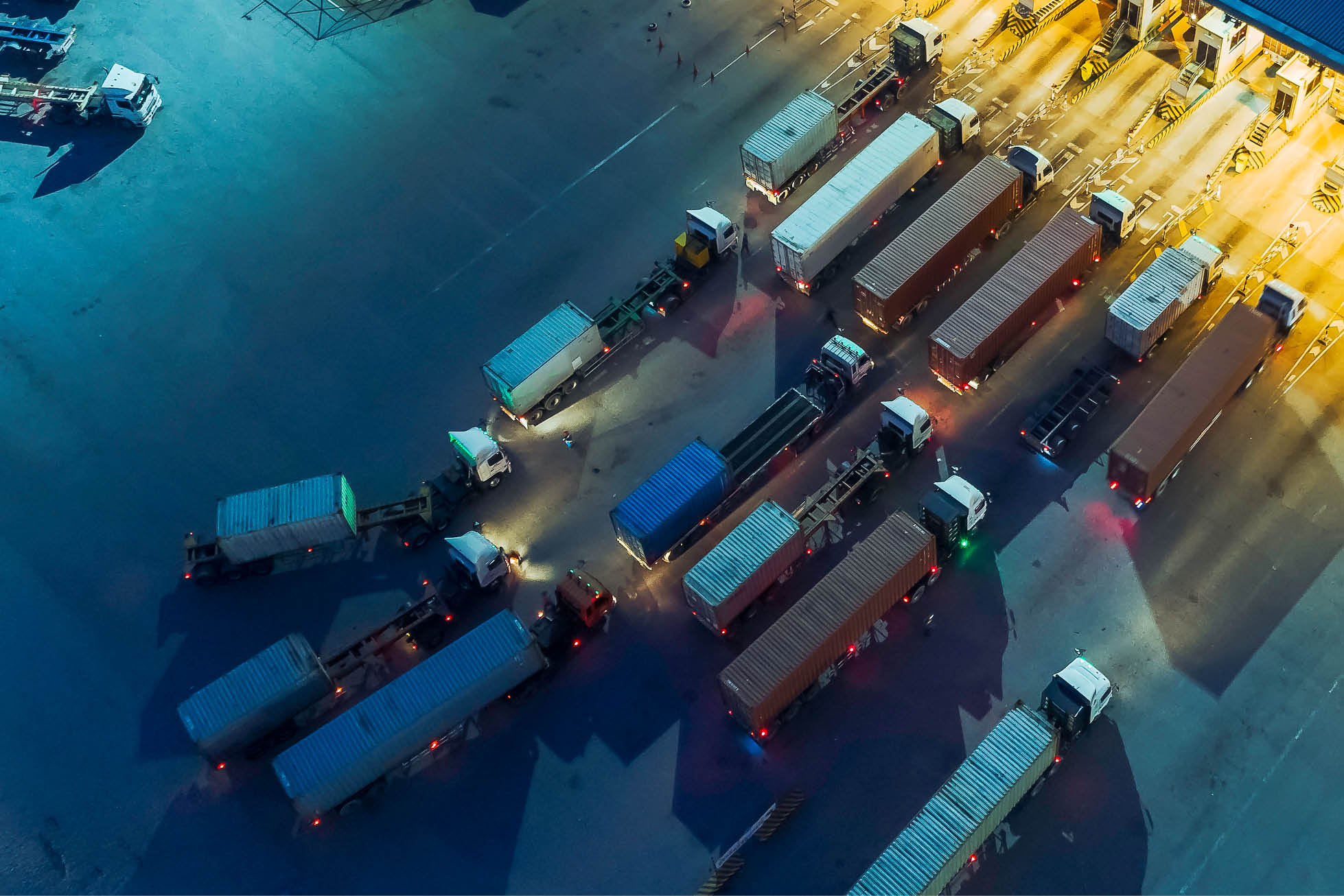 container lorries seen from above